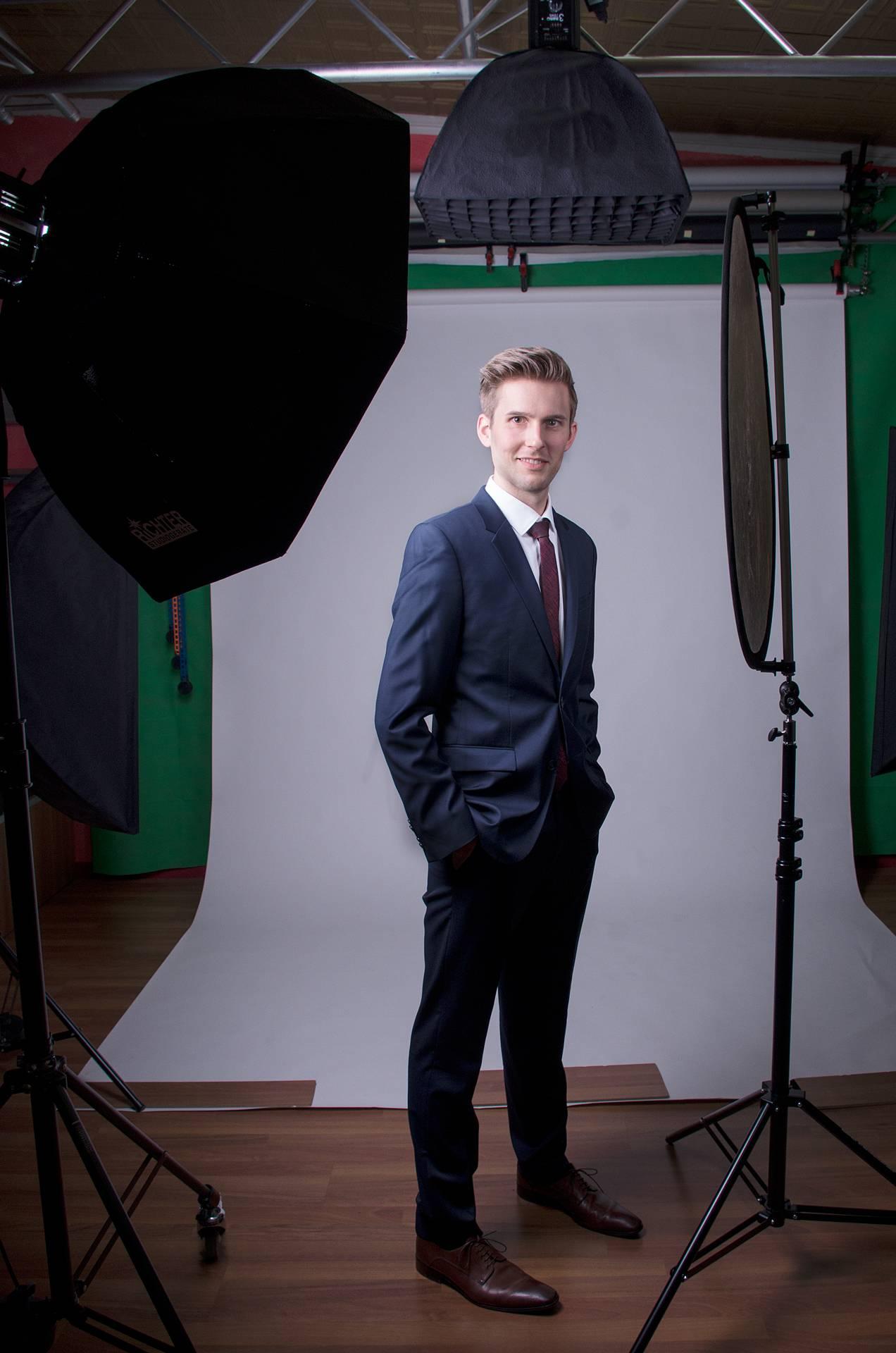 Businessfoto eines Mannes im Fotostudio